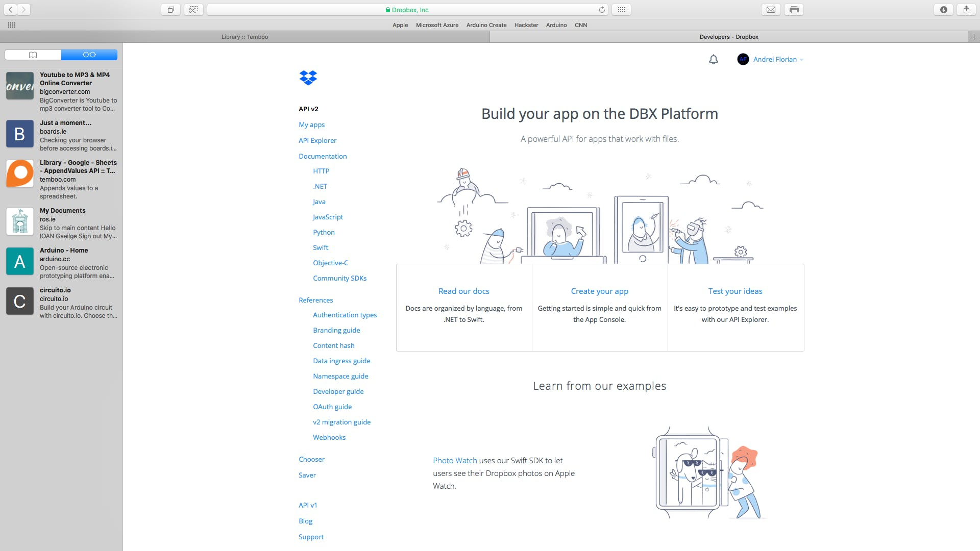 Open Dropbox Developer by searching for it on Google