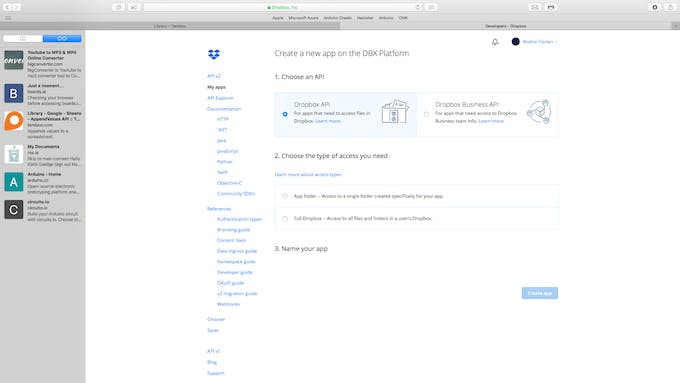Select Dropbox API from the dropdown