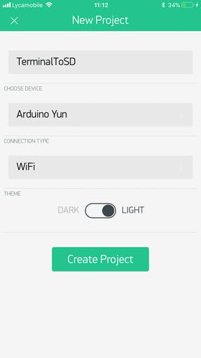 Give your project a name, choose the device and select connection type to WiFi, click Create Project