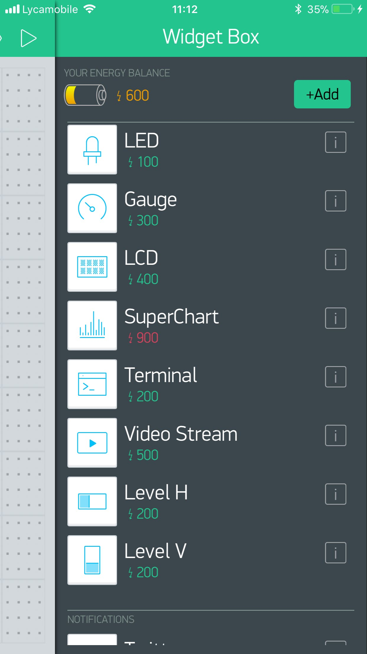 Scroll down and select the Terminal Widget from the menu