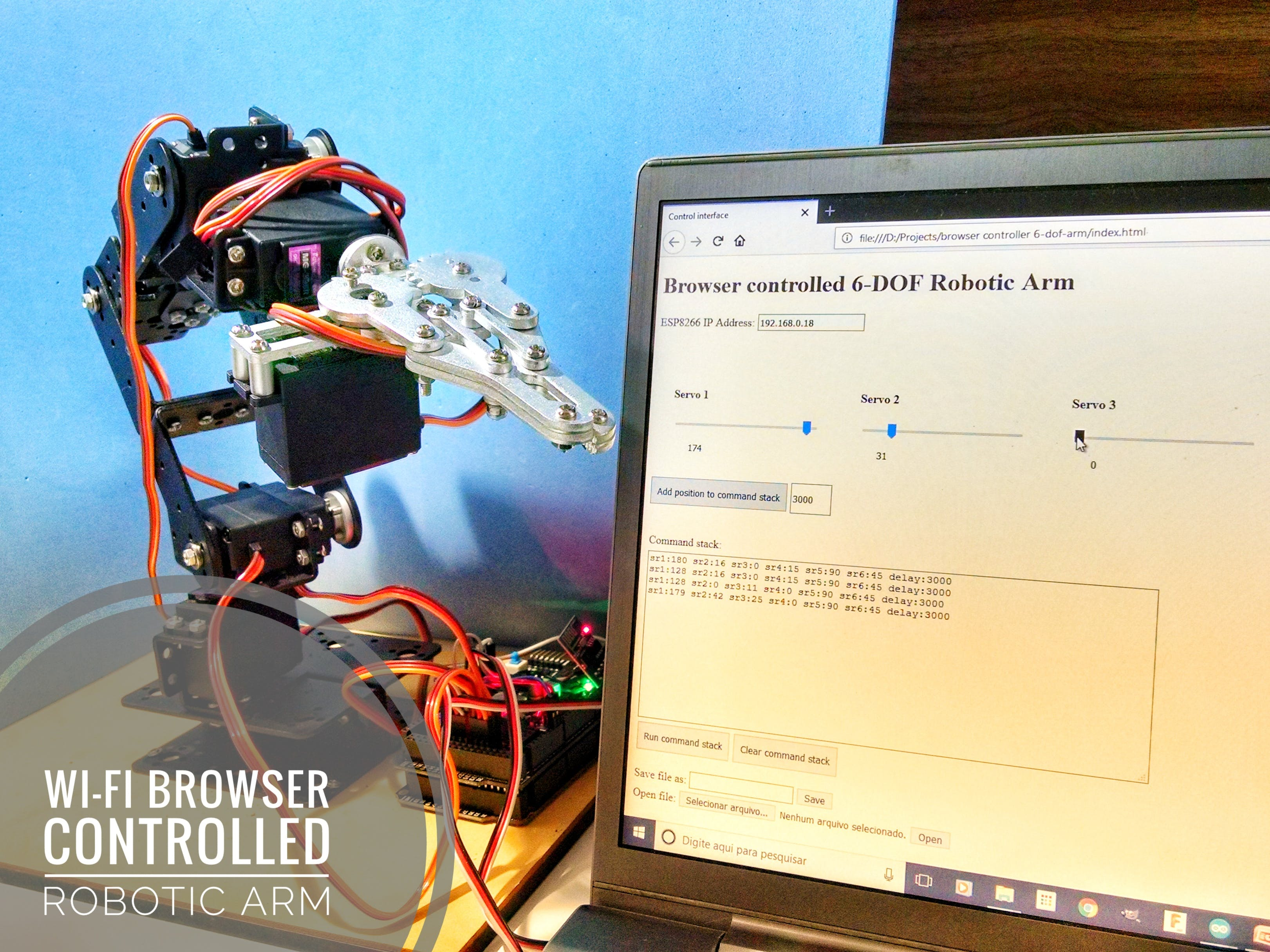 Wi-Fi Browser Controlled Robotic Arm