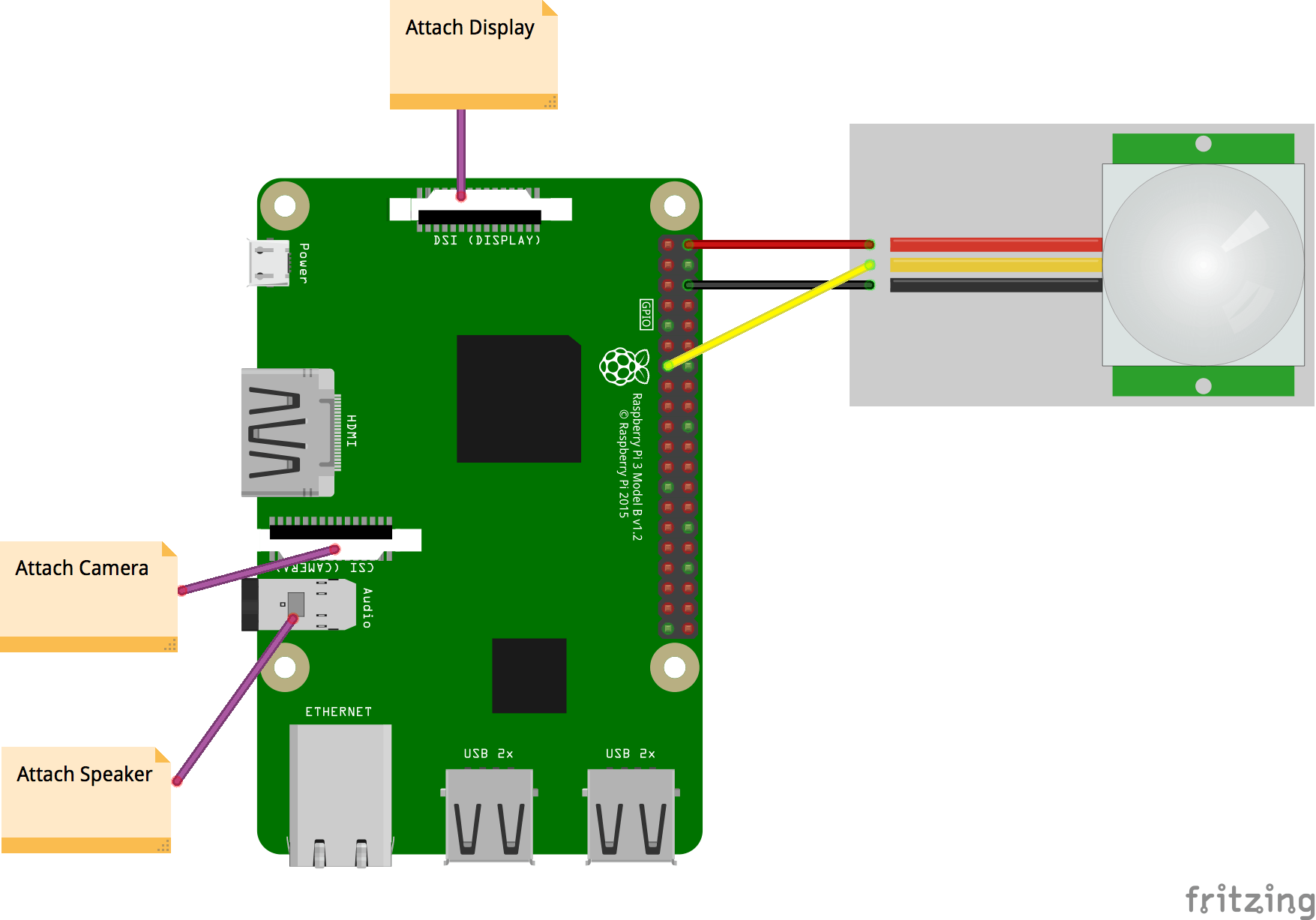 Connecting PIR and components to Raspberry Pi 3