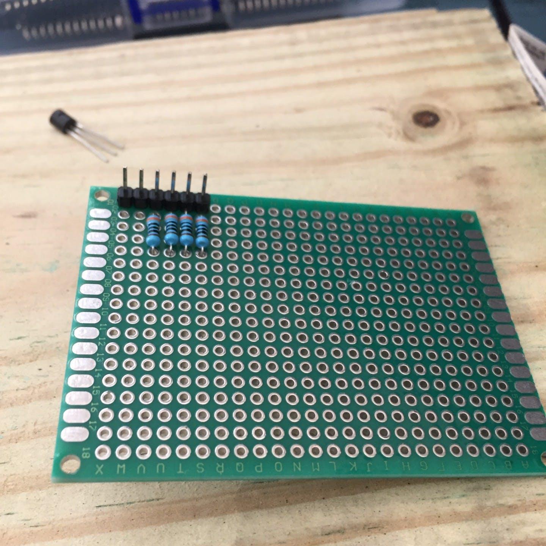 Headers and resistors in