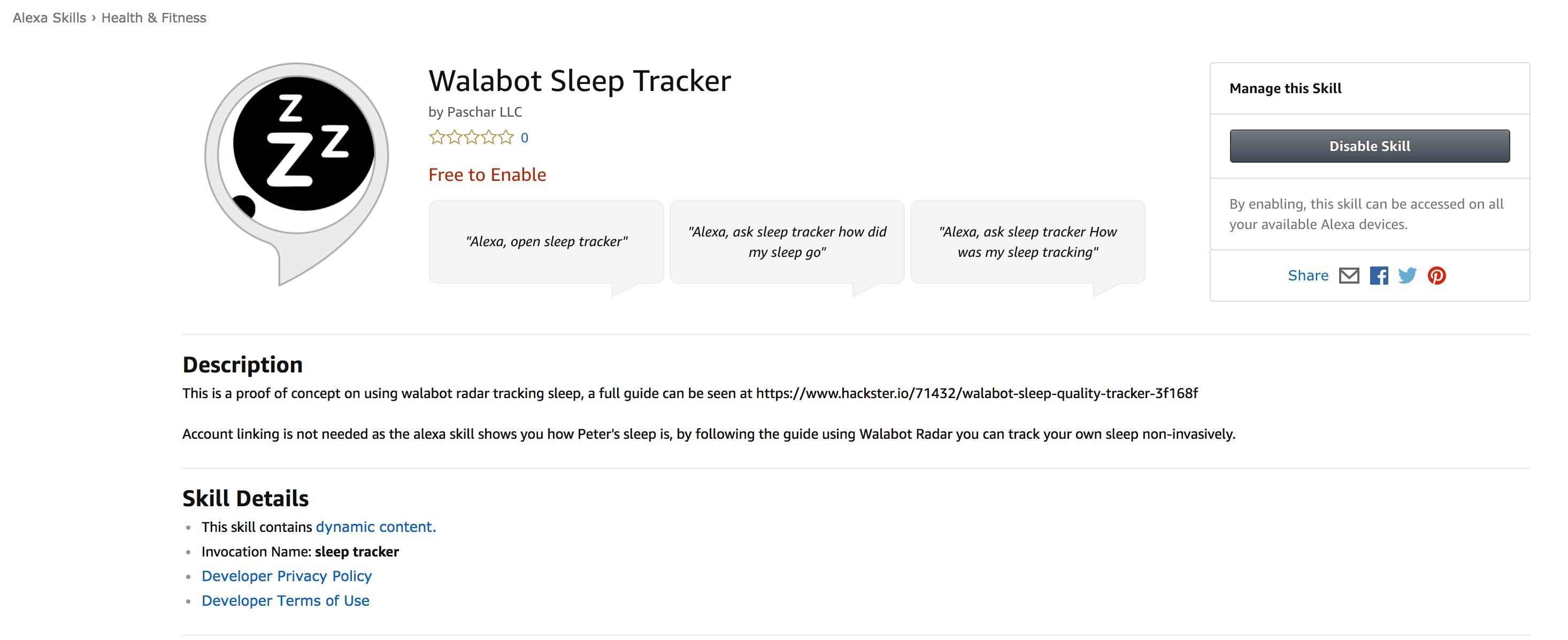 Walabot Sleep Tracker Alexa Skill Store