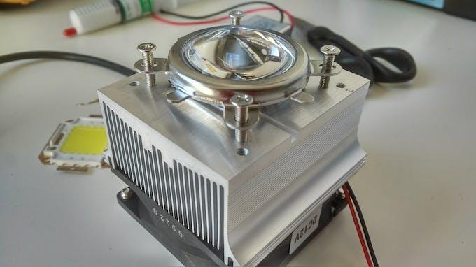 light lens, fan and heat sink