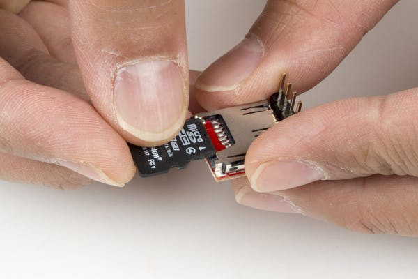 Insert a microSD card into the OpenLog