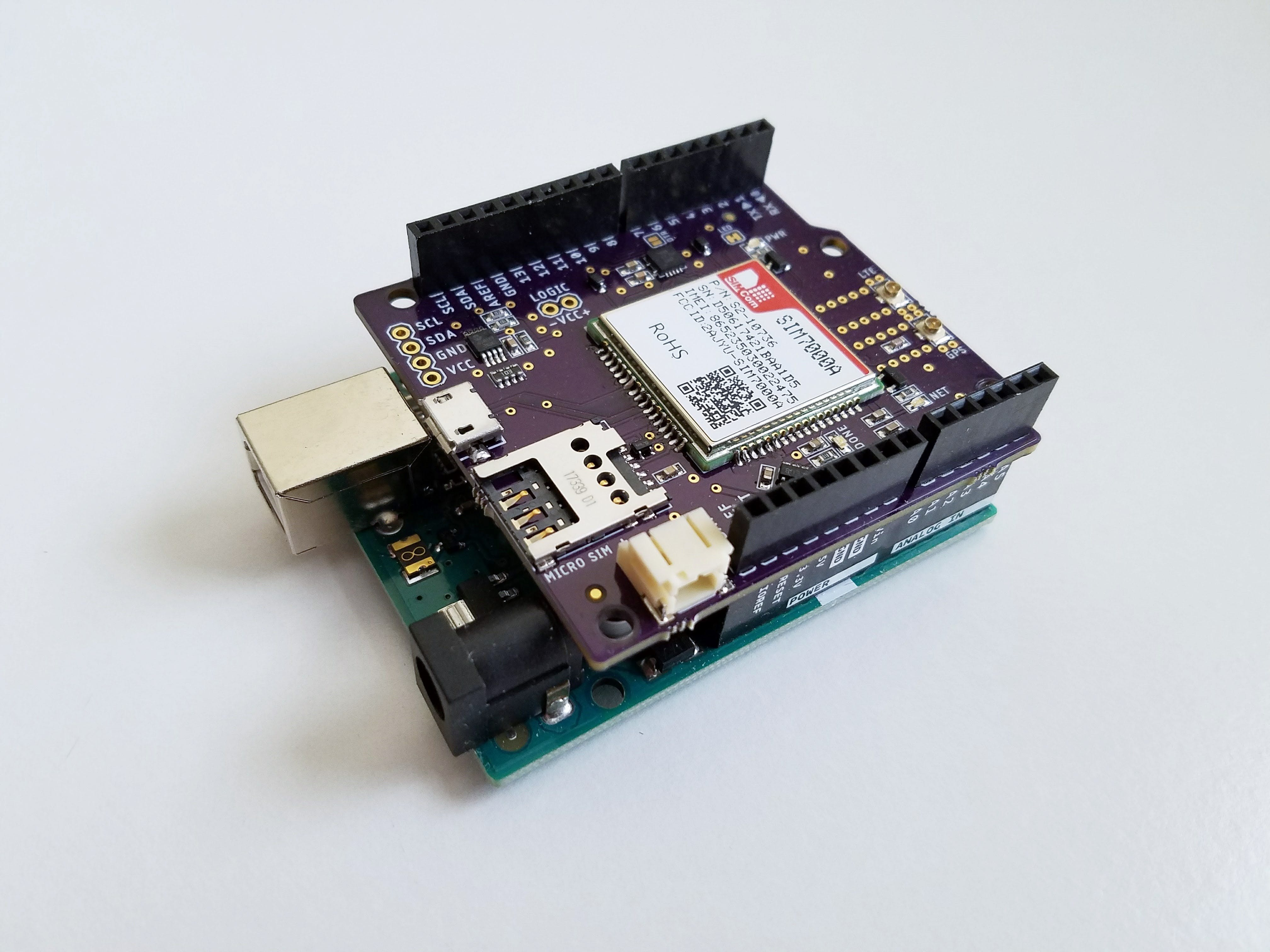In this tutorial we'll be using the SIM7000 LTE shield for Arduino as a GPS tracker