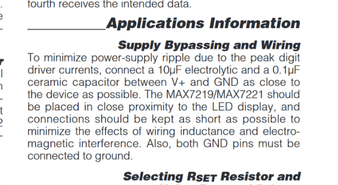 MAX7219 datasheet wiring recommendations