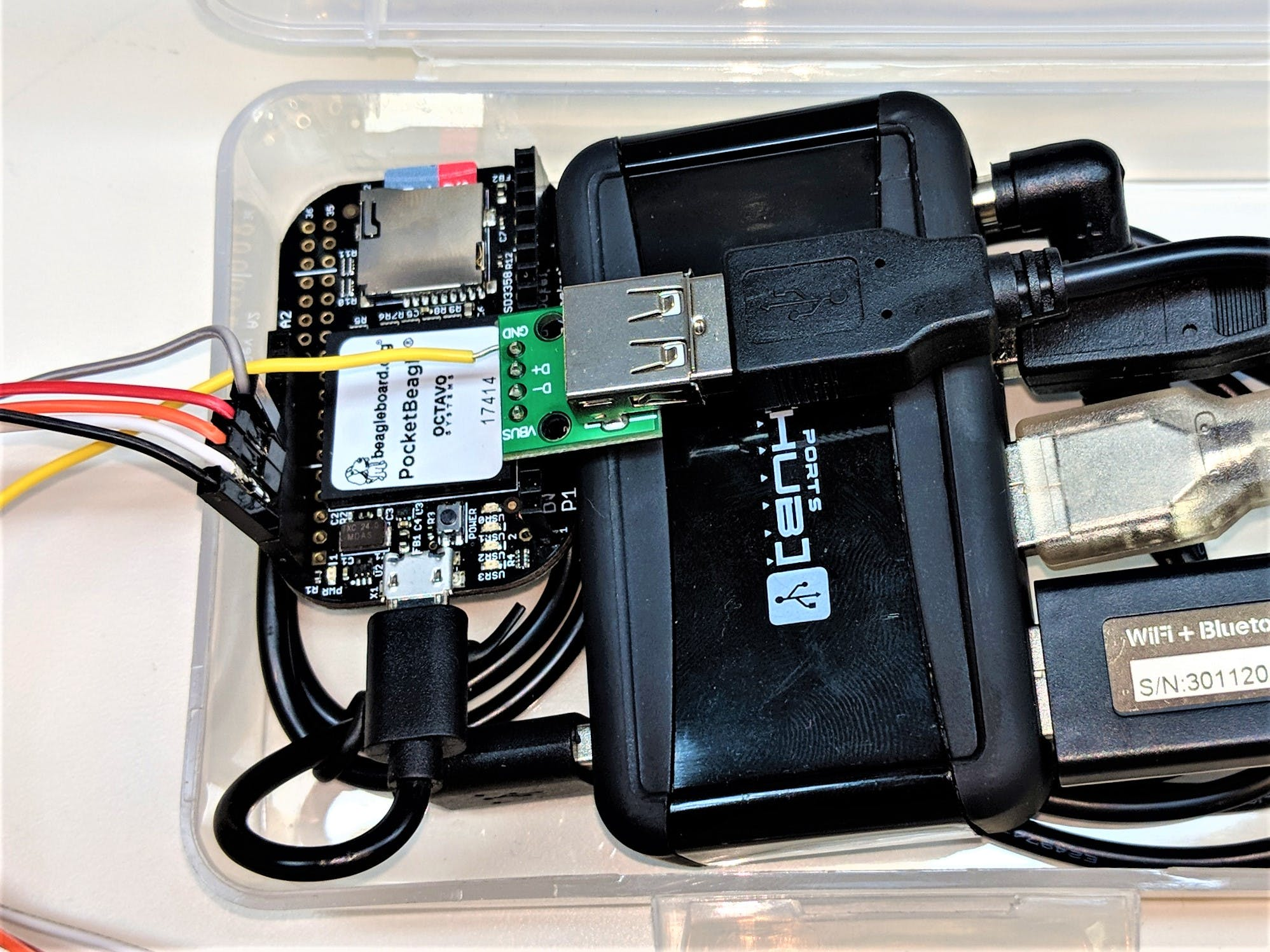 PocketBeagle connected to USB hub for power