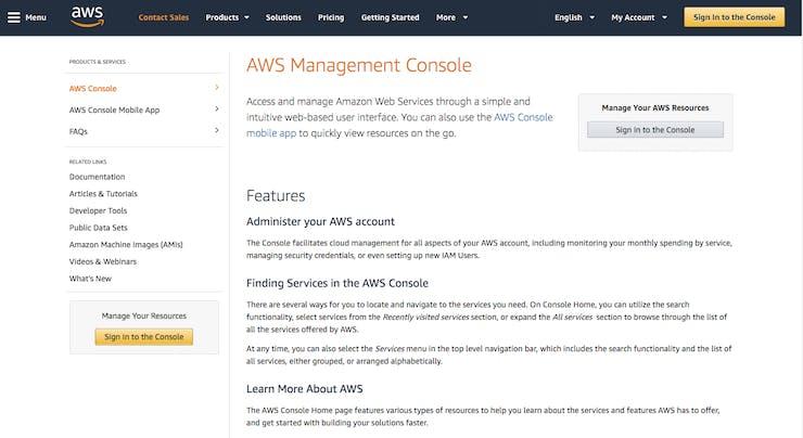 AWS Management Console, Lambda Landing Page