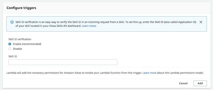 Enter your Alexa Skill ID in the Lambda Alexa Skill Trigger