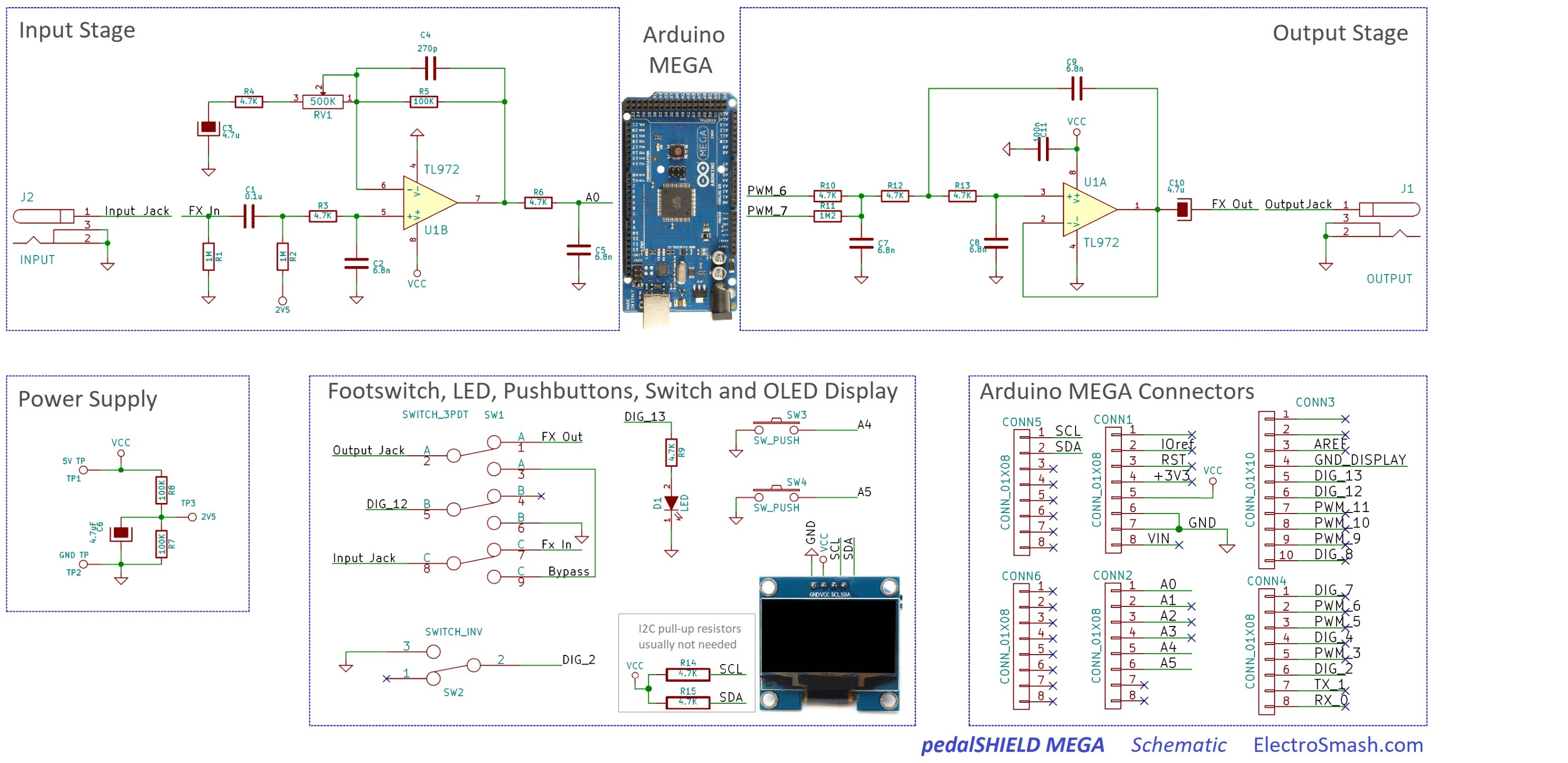 Arduino Mega Guitar Pedal 1 4 Jack Wiring For Footswitch Pedalshield Schematics