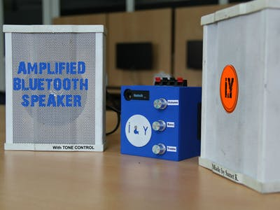 Amplified Stereo Bluetooth Speaker with Tone Control