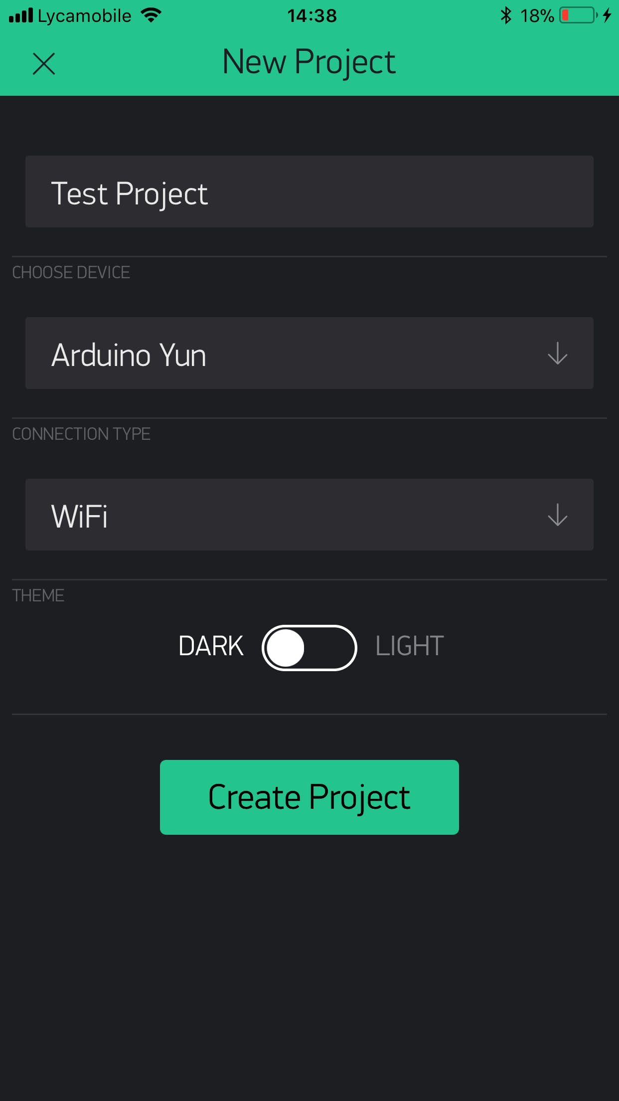 Give your project a name and select the Board as Arduino Yun and connection type as WiFi, click Create project