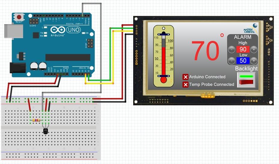 Matrix Orbital GTT TFT Thermometer Stage 2 - Arduino Project Hub