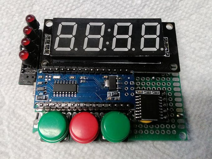 Clock Board Updated with LEDs, New RTC Module (black, with yellow battery, lower right)