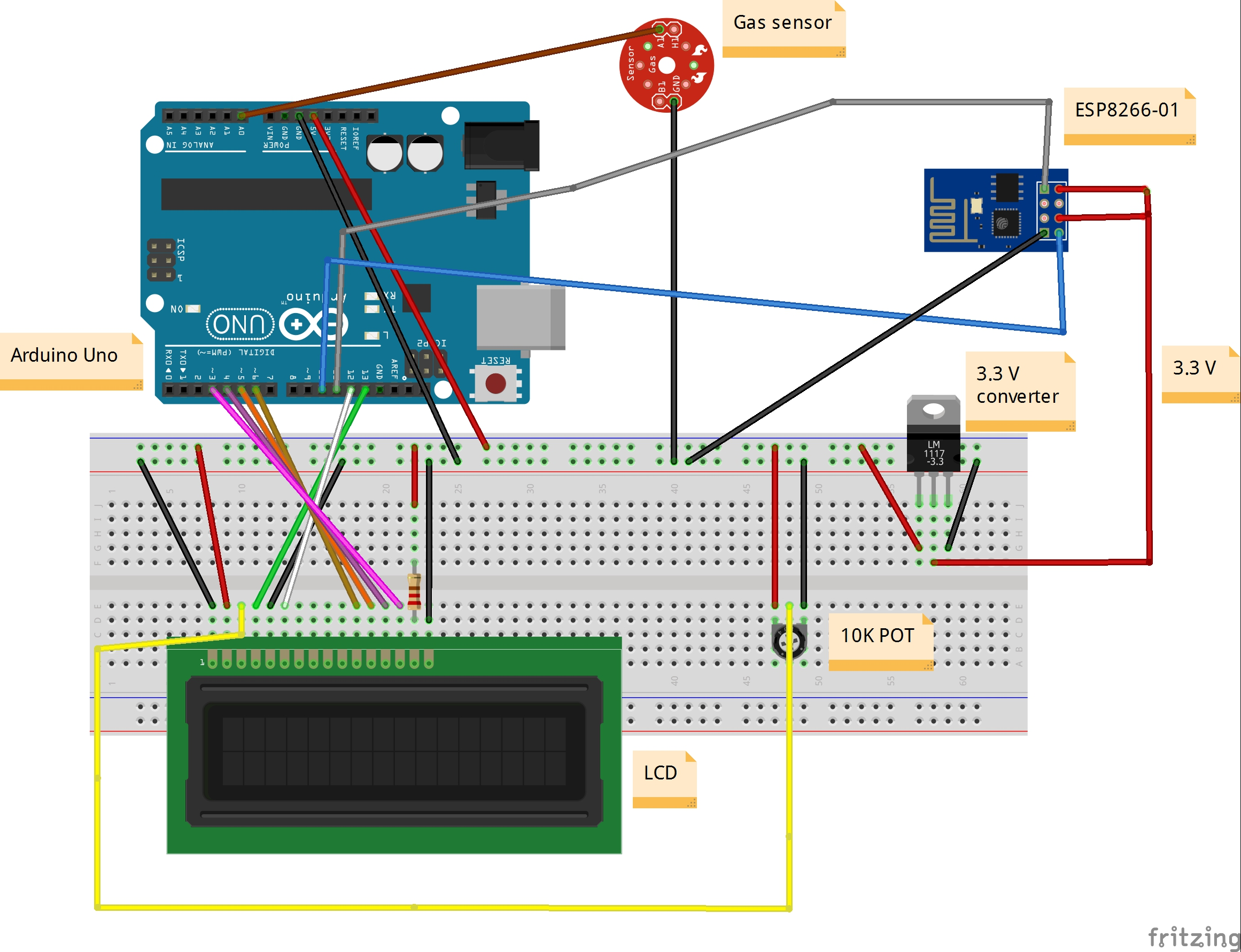Air Quality Monitoring Detector Circuit A Very Simple Temperature Indicator Interfacing Of Arduino Uno Lcd Gas Sensor And Esp8266