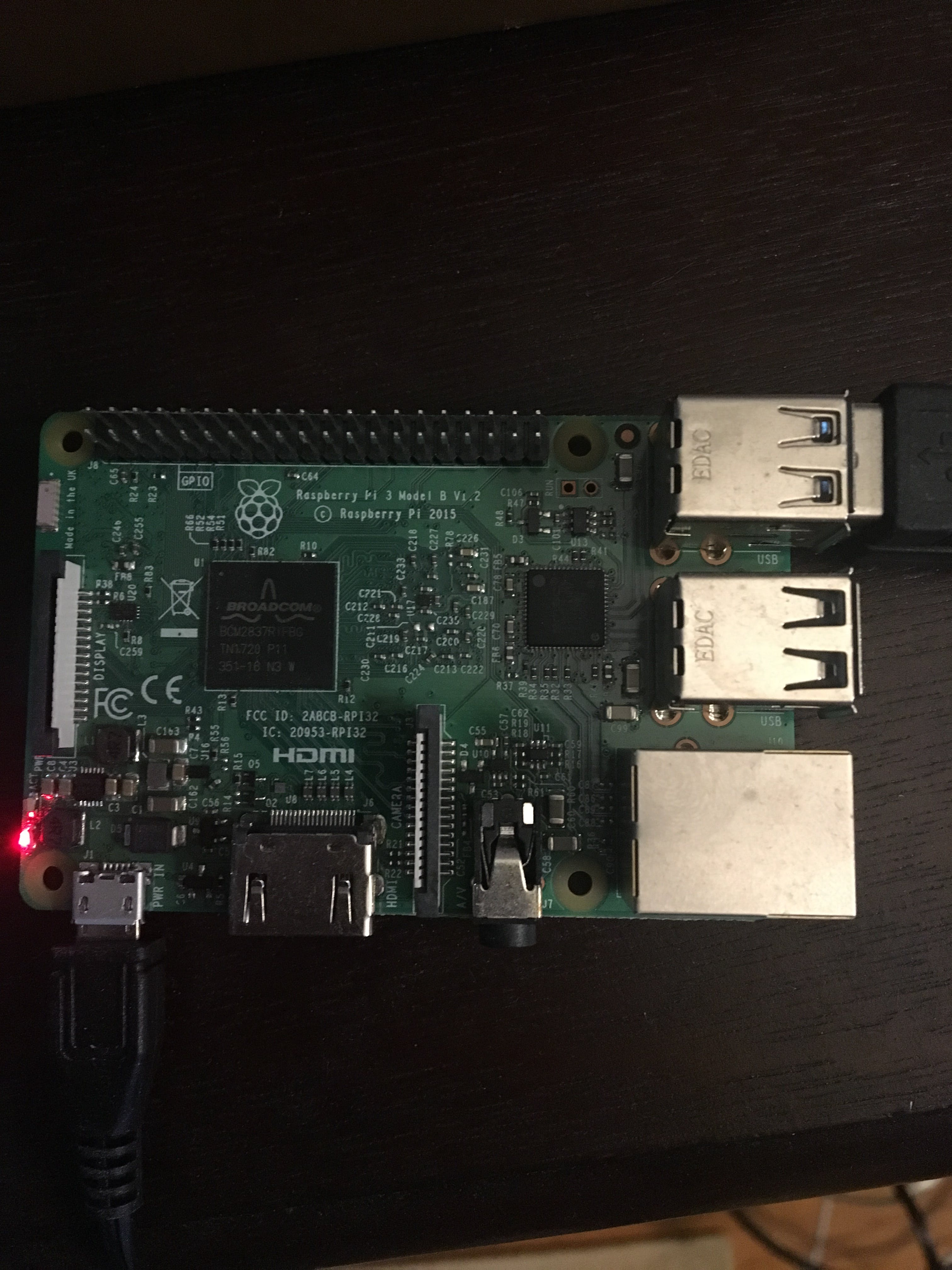 The Raspberry pi (where the bot is run and arduinos plugged into)