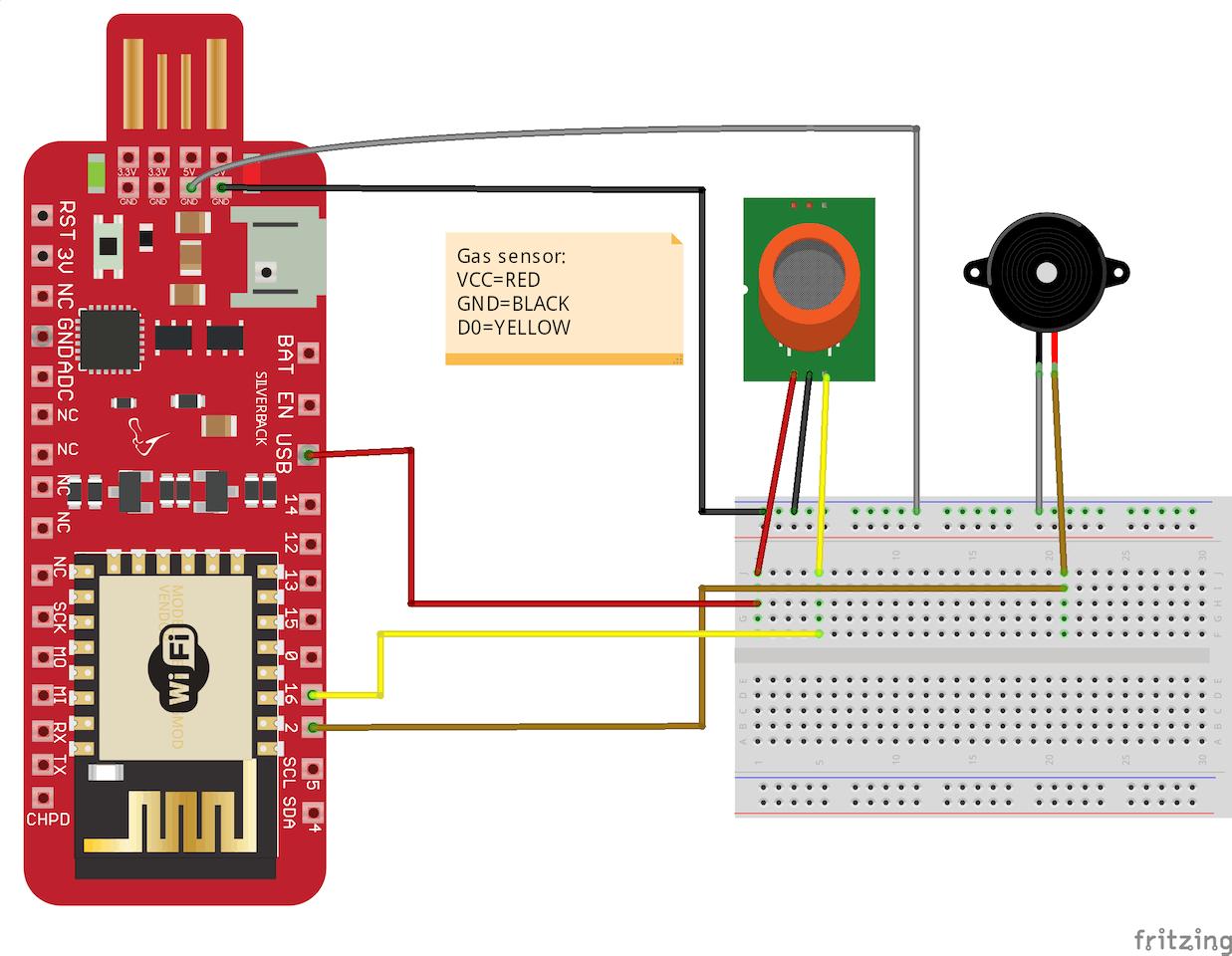 Smoke And Gas Detection Using Mq 2 Sensor Piezo Buzzer Mq2 Circuit Built With An Arduino