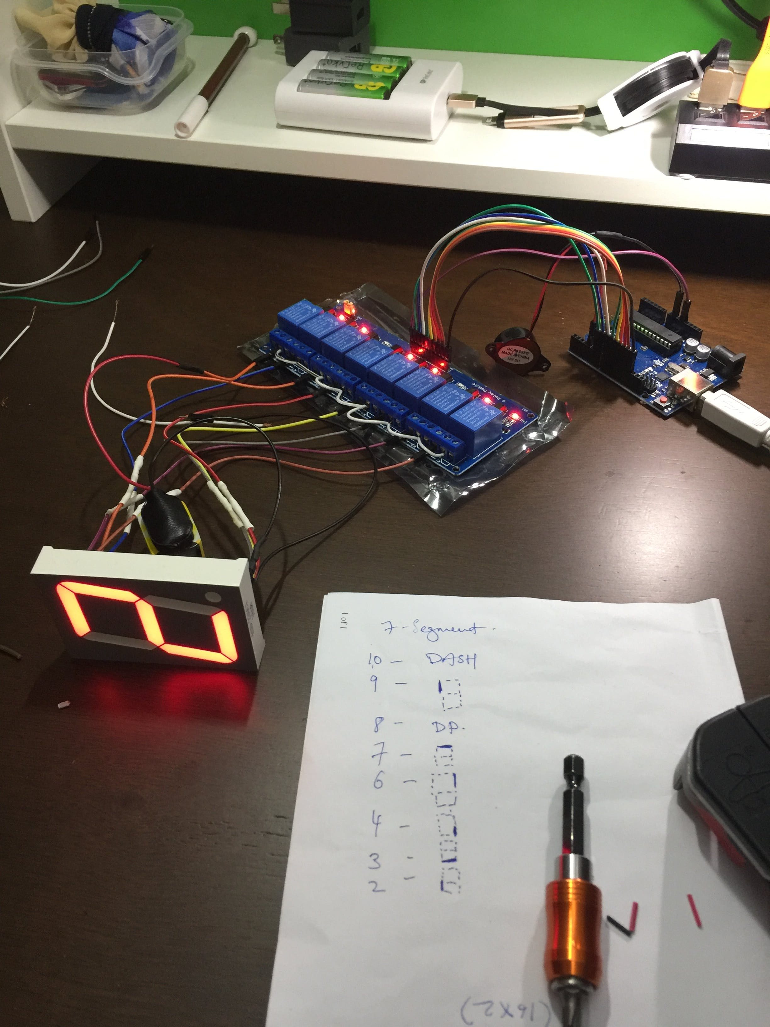 """Testing 8-channel Relay in controlling 2.3"""" 7-segment display"""