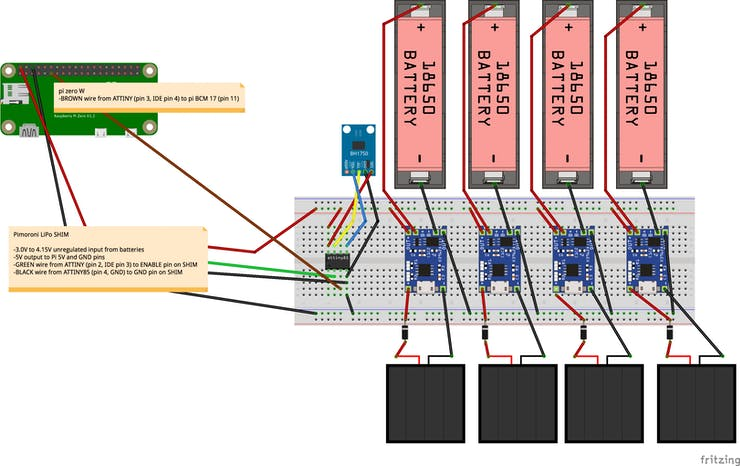 note the 3 wires going to the pi. the power and ground come from the LiPo SHIM and the shutdown signal is connected between the ATTINY [arduino] pin 4 and the pi GPIO 17