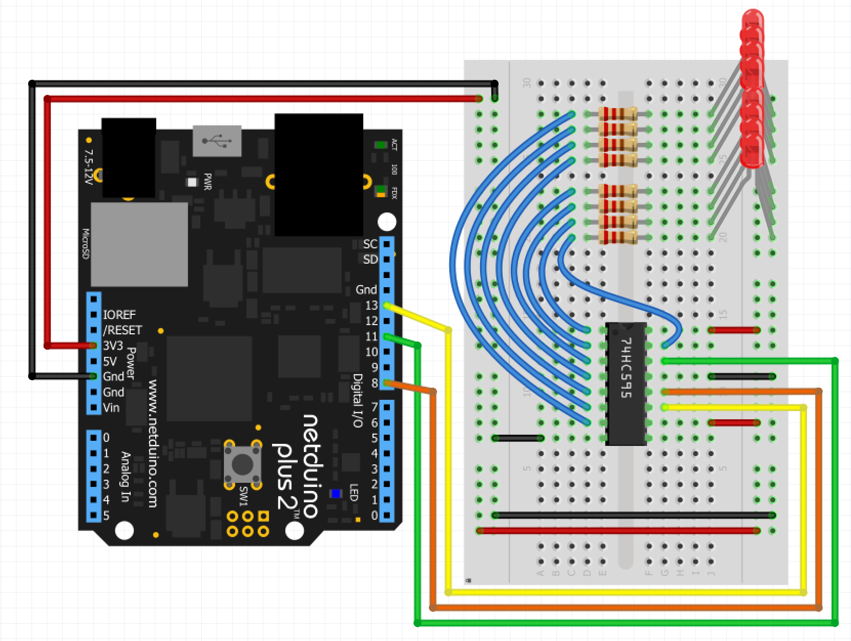 Expanding Io Ports Of A Netduino With 74hc595 And Connect Leds In Series Parallel Electronic Circuit Projects D3f7fvgihb