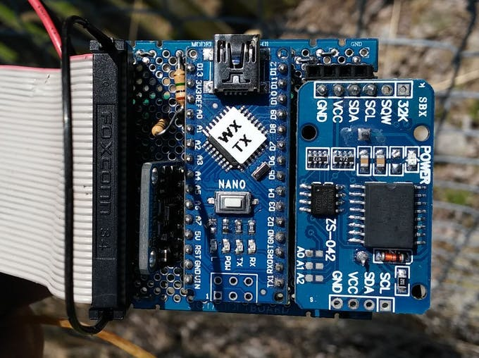 Weather Station Circuitry-Nano, RTC Module, Barometric Pressure Module mounted on Proto-board.