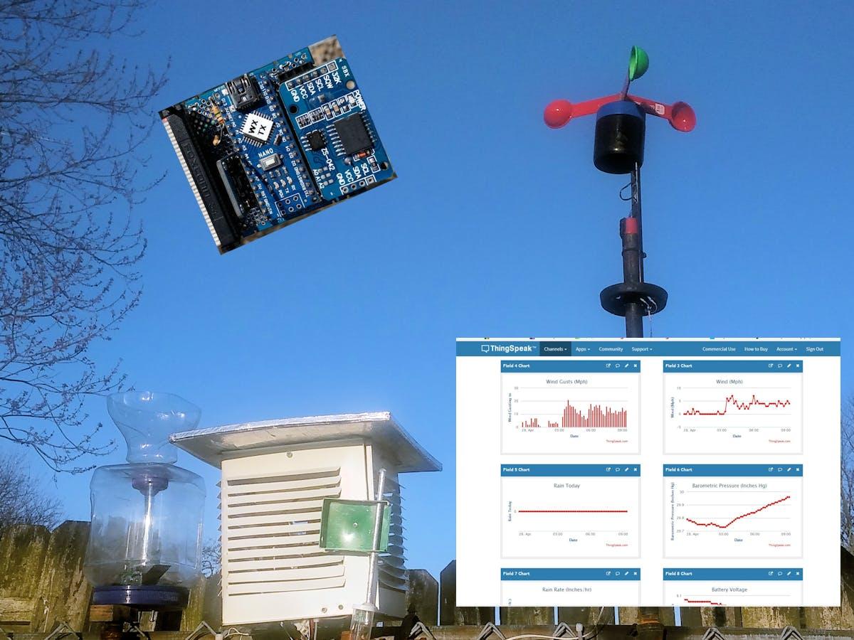 Rube Goldberg Weather Station with Internet Data Storage