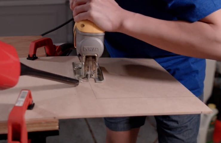 "Cutting the 12"" x 9"" drink platform"