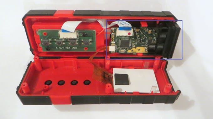 Laser rangefinder module is marked blue