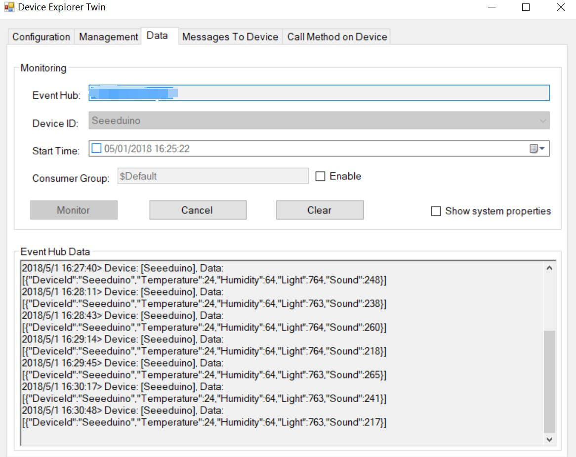 Figure 12. Message monitoring with Device Explorer