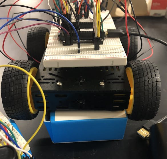 Front View of RC Car with Wiring