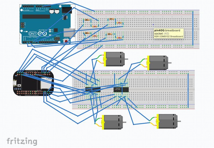 Fritzing Diagram of PocketBeagle, Arduino, Motors, and Motor Drivers