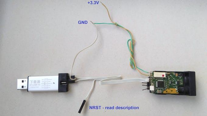 ST-Link connected to the laser rangefinder module