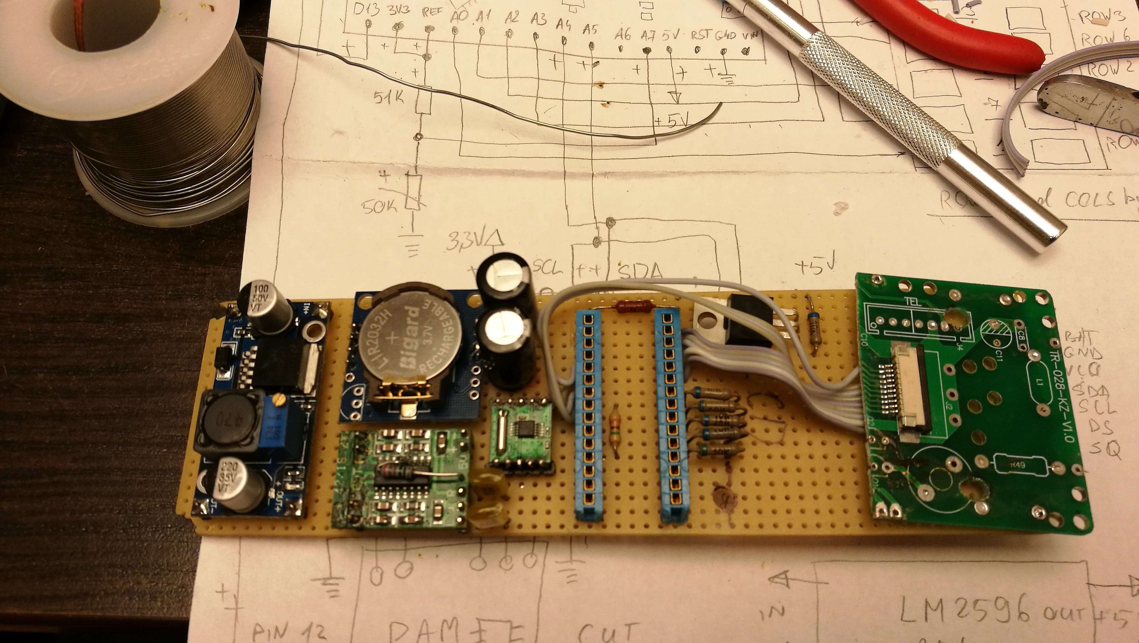 When everything is working on breadboard, it's time to move modules to another board.