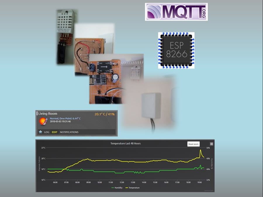 ESP8266-01 Temp/RH Sensor Readings Over JSON/MQTT