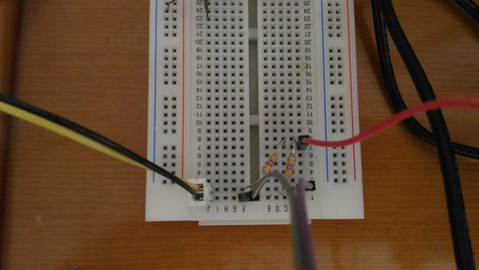 connect resistor and wire on breadboard