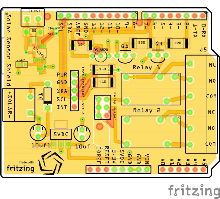 Arduino Relay Shield With Temperature and Power Monitoring