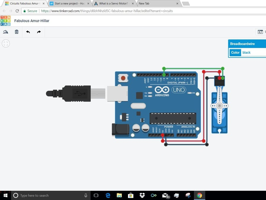 Operating Servo Motor Through Arduino On Online Simulator - Arduino