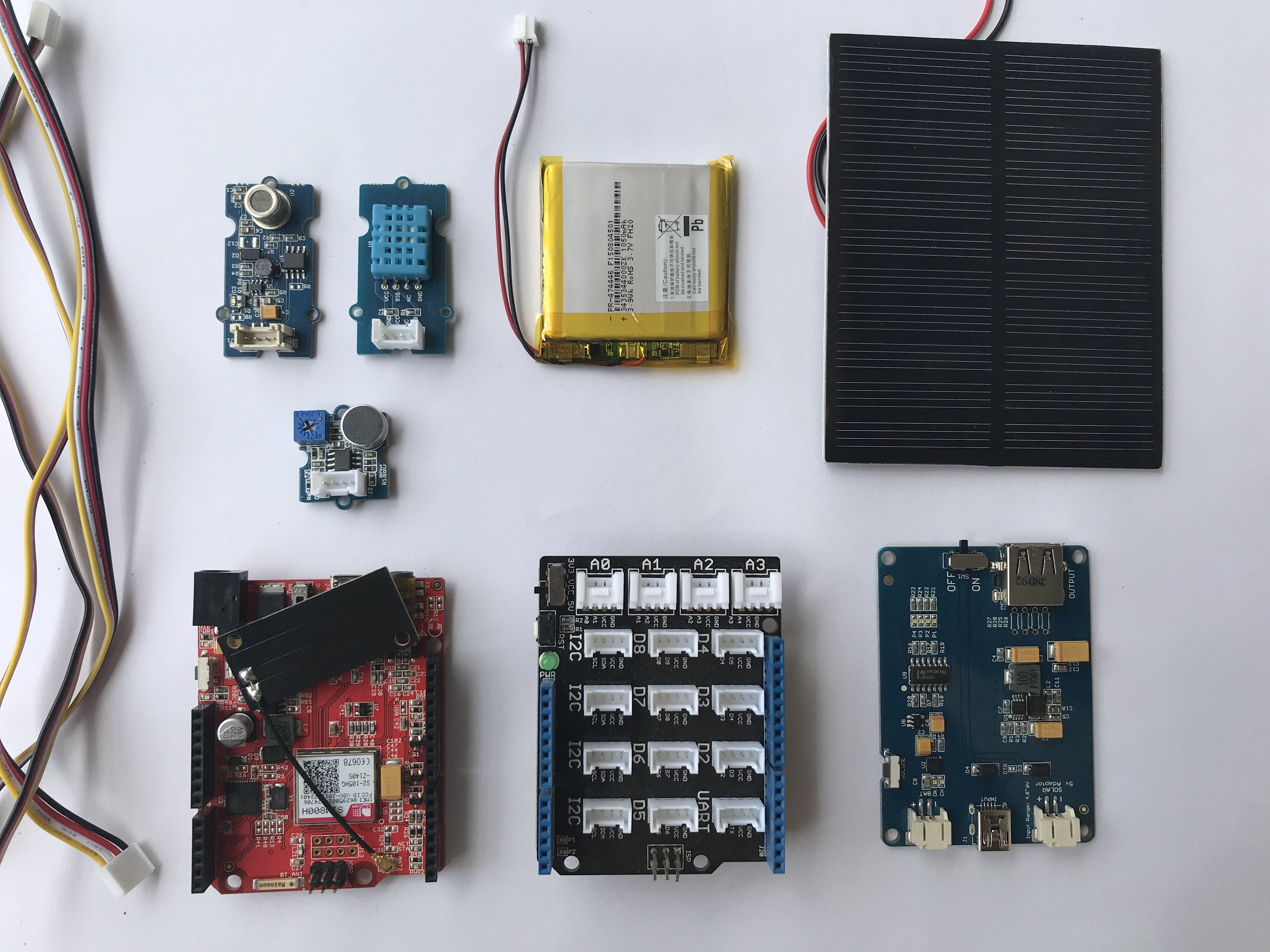 Required components (Grove air quality sensor, Grove sound sensor, Grove temperature&humidity sensor, Seeeduino GPRS, Base Shield, Seeed 1W Solar panel, Seeed Lipo rider pro & Lipo battery)
