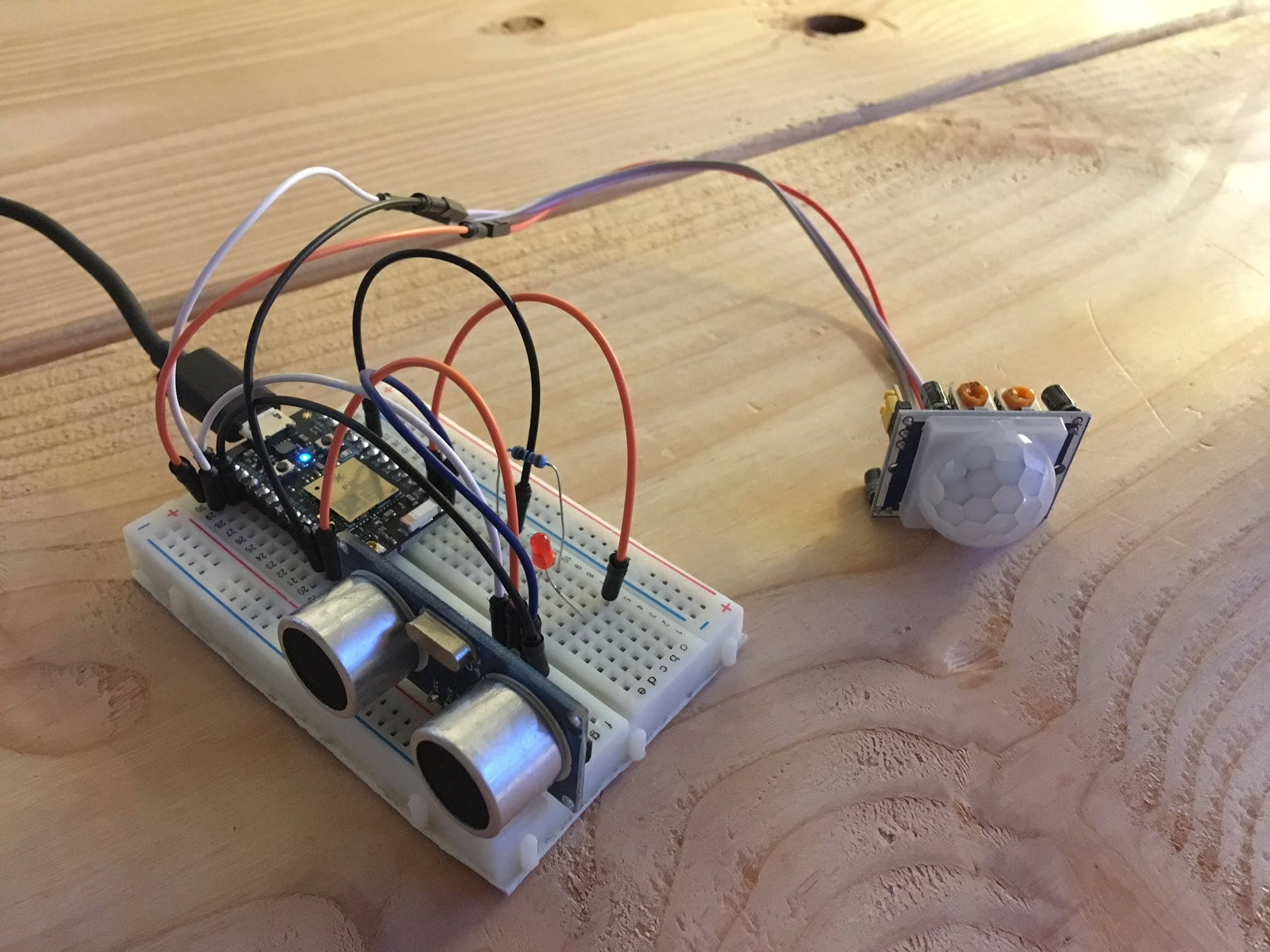 Prototyping circuit.  Inclusion of the PIR sensor is still undecided.
