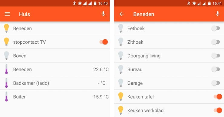 Main and subscreen on the android app