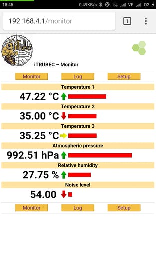 iTRUBEC Minimonitor web-serving the data