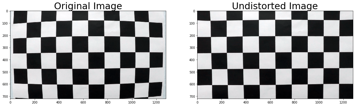 Distortion correction applied to an image containing a calibration checkerboard.