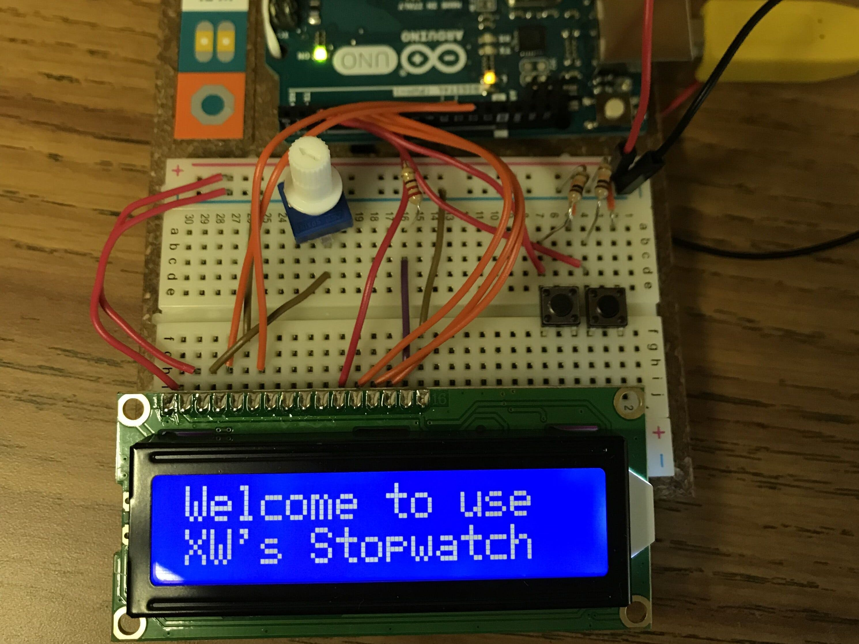 Stopwatch with Arduino starter kit