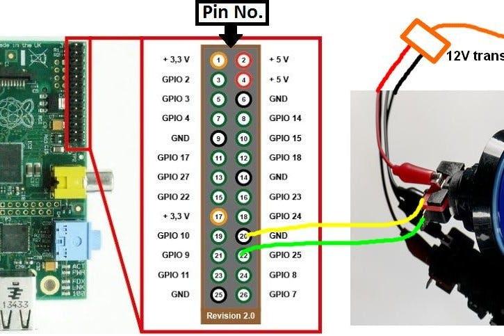 Wire schematic of the arcade button