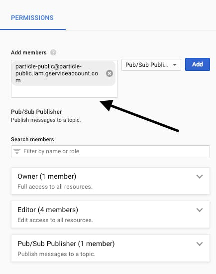 Add the Particle account as shown to the members as a Pub/Sub Publisher