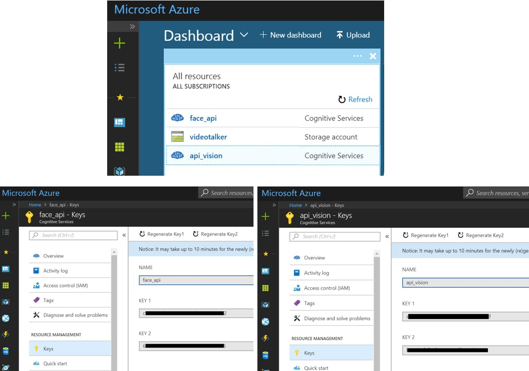 Azure Developer Dashbord and API key settings