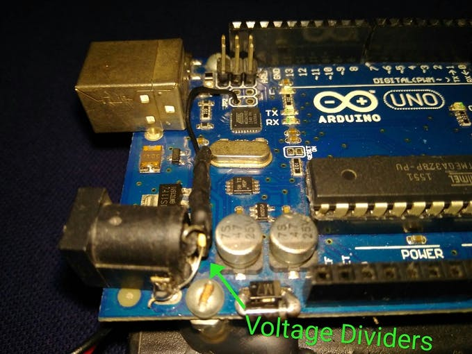 voltage divider soldered on power barrel connector