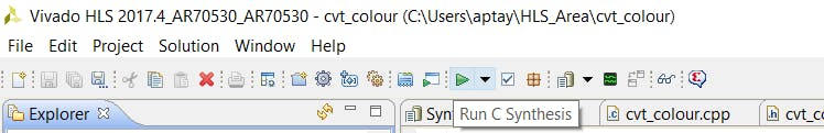 Selecting the run C Synthesis option